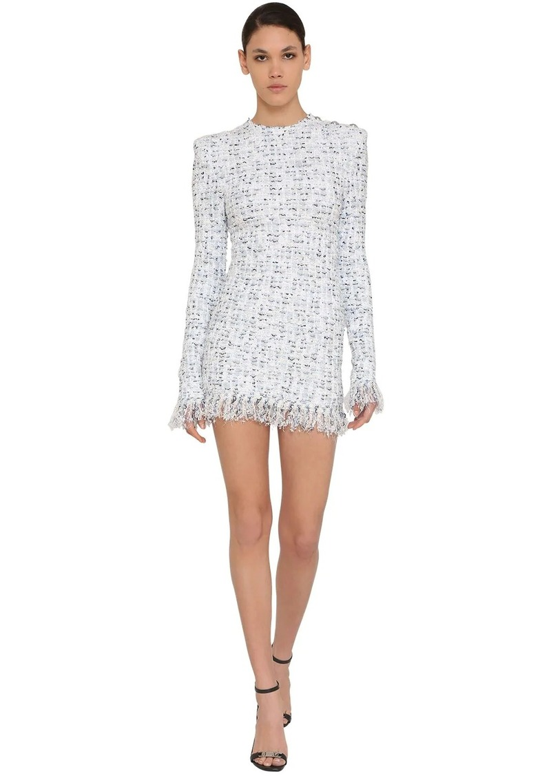 Balmain Fringed Lurex Tweed Mini Dress
