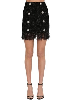 Balmain Fringed Lurex Tweed Mini Skirt
