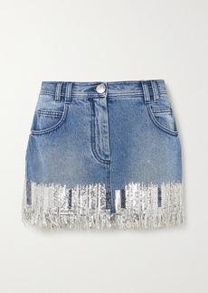 Balmain Fringed Sequined Denim Mini Skirt