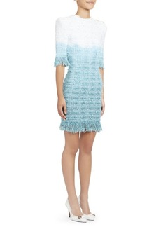 Balmain Fringed Tie-Dye Tweed Dress