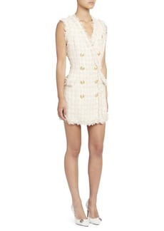 Balmain Fringed Tweed Double-Breasted Mini Dress