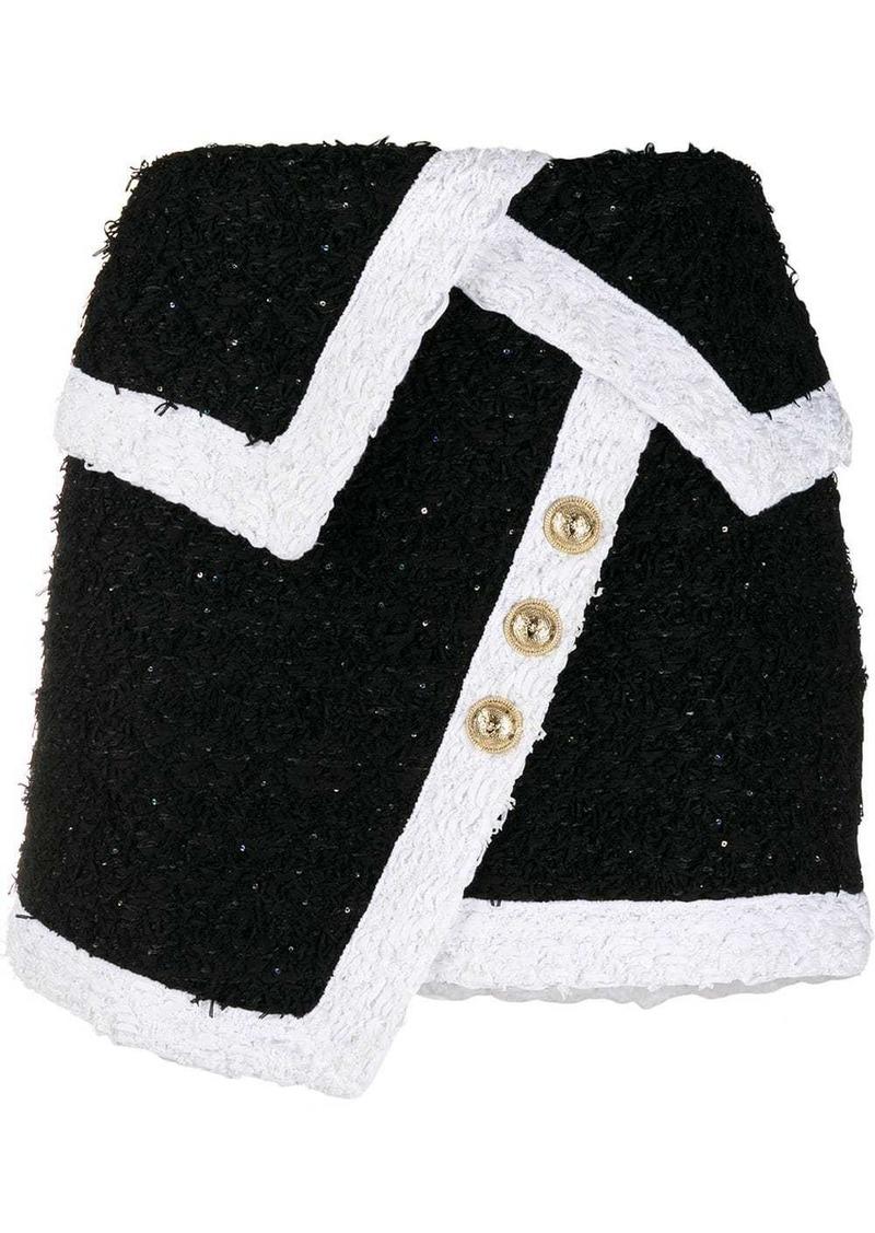 Balmain fringed tweed wraparound skirt
