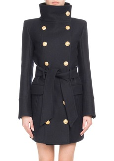 Balmain Funnel-Collar Double-Breasted Belted Wool-Cashmere Coat