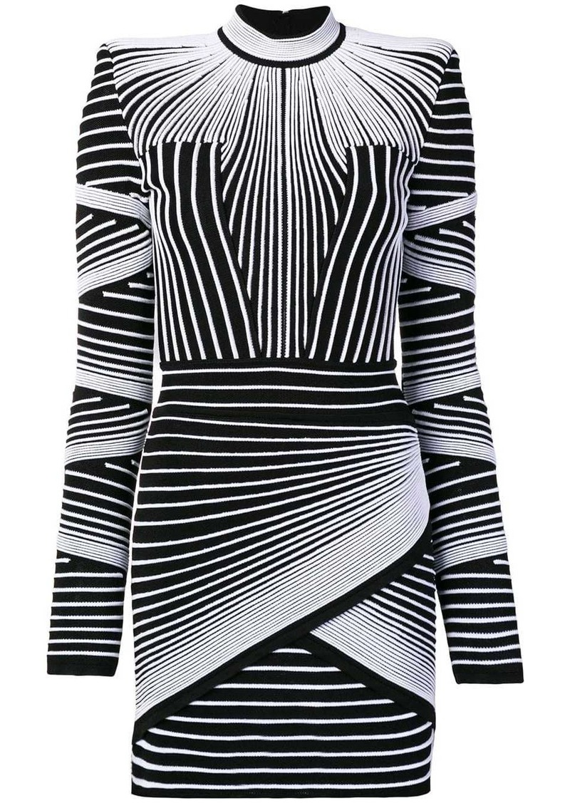Balmain geometric long-sleeve mini dress