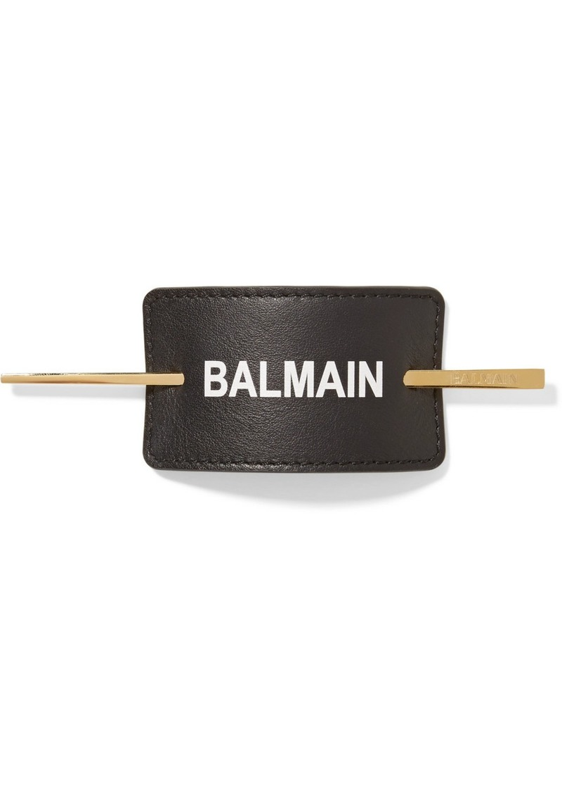 Balmain Gold-plated And Printed Leather Hair Pin