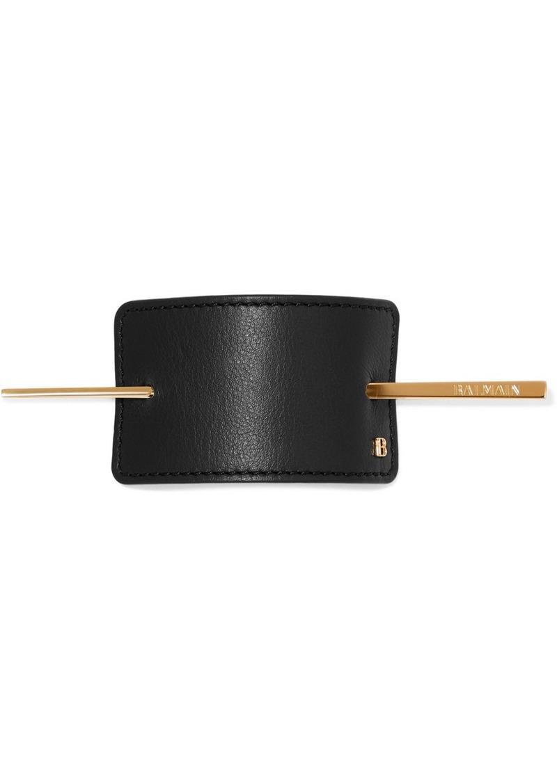 Balmain Gold-tone And Leather Hairclip