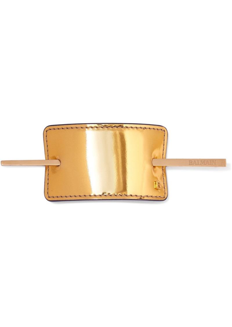 Balmain Gold-tone And Metallic Leather Hair Pin