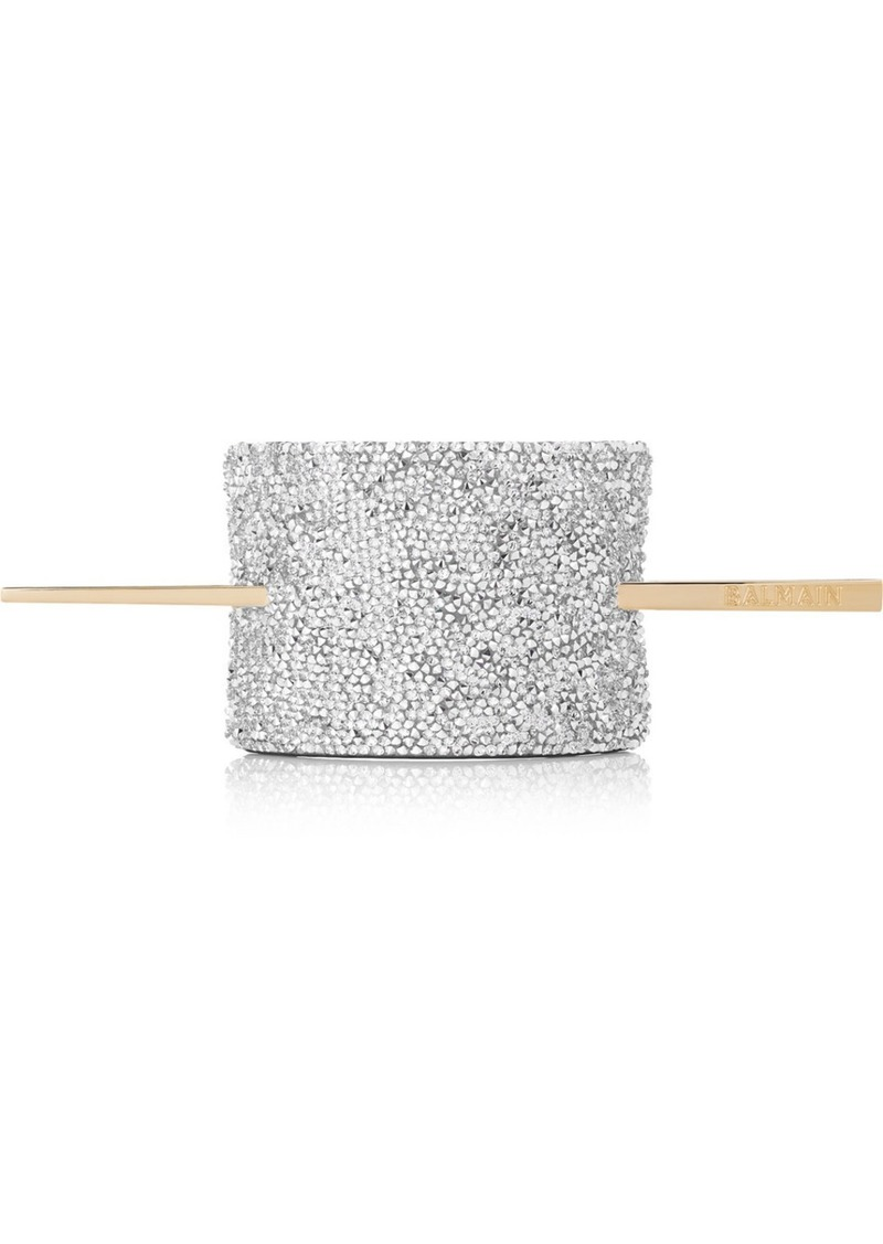 Balmain Gold-tone, Crystal And Leather Hair Pin