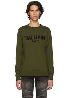 Balmain Green Wool Logo Sweater
