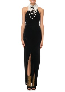 Balmain Halter Pearly Necklace Gown