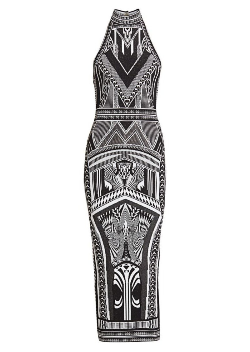 Balmain Halterneck Jacquard Midi Dress
