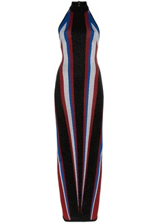 Balmain halterneck stripe fitted maxi dress