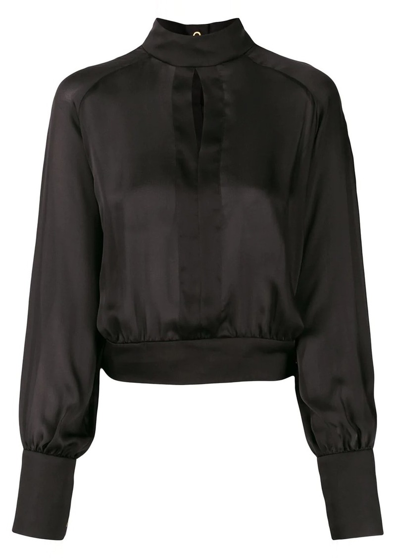 Balmain high-neck keyhole blouse