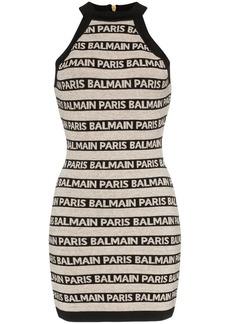 Balmain high-necked logo halter dress