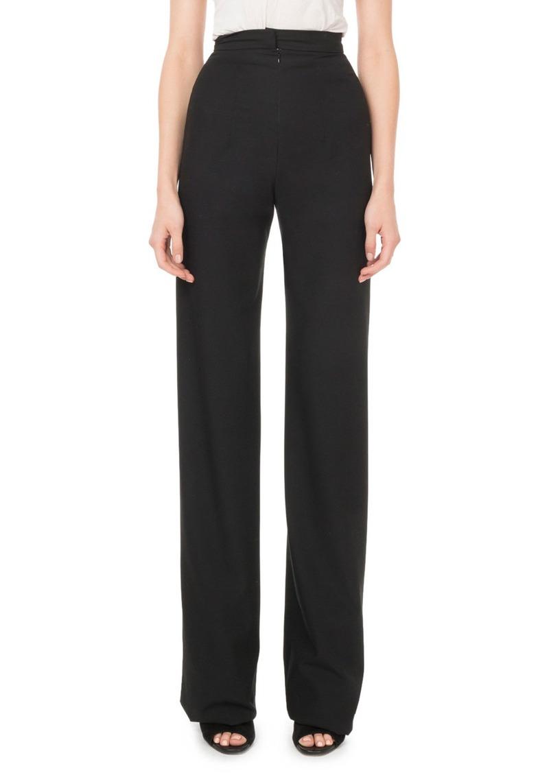 Balmain High-Rise Front-Zip Straight-Leg Wool Pants