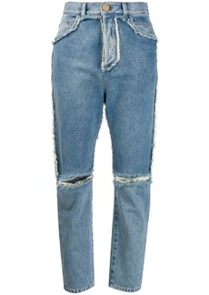 Balmain high-rise ripped jeans