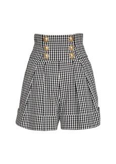 Balmain High Waist Cotton Blend Gingham Shorts