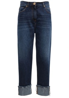 Balmain High Waist Cotton Denim Boyfriend Pants