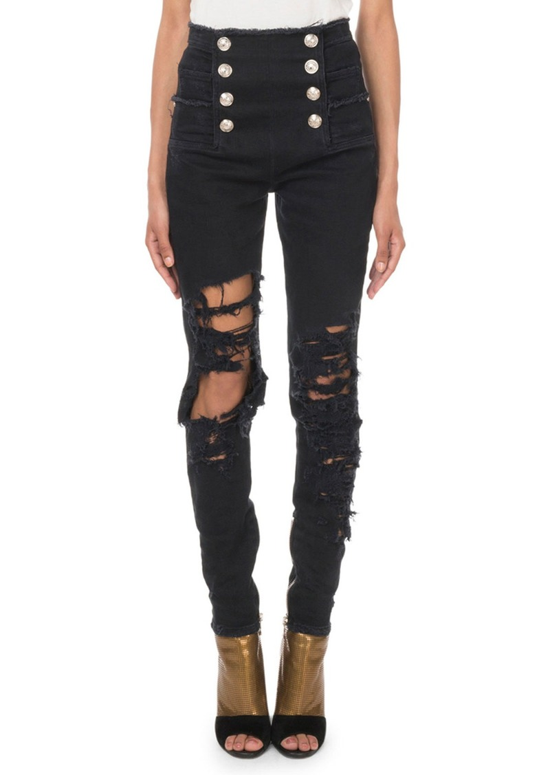 Balmain High-Waist Eight-Button Destroyed Skinny Jeans
