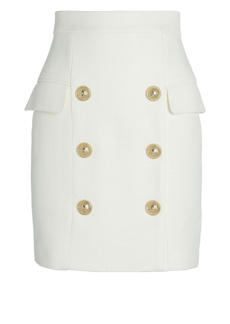 Balmain High-Waist Grain De Poudre Mini Skirt
