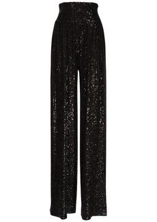 Balmain High Waist Sequined Wide Leg Pants