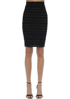 Balmain High Waist Stretch Knit Pencil Skirt