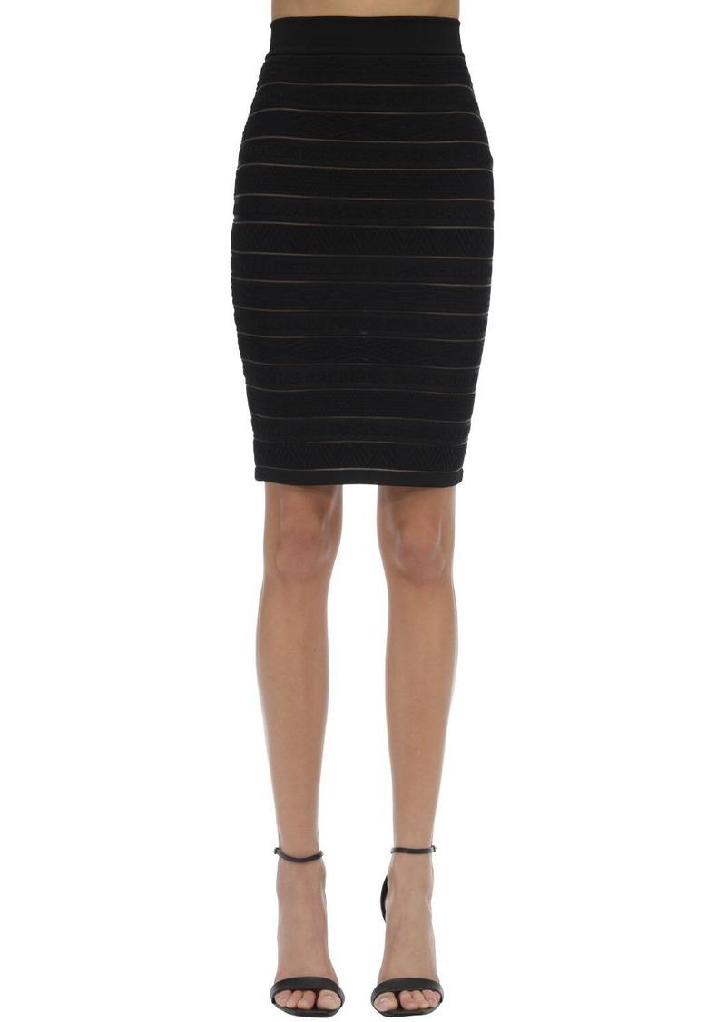 Balmain High Waist Stretch Knit Pencil Skirt