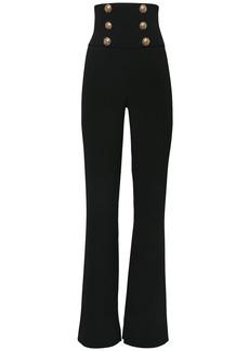 Balmain High Waist Viscose Wide Leg Pants