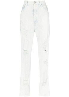Balmain high-waisted distressed straight-leg jeans