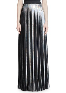 Balmain Hologram Plisse Floor-Length Evening Skirt