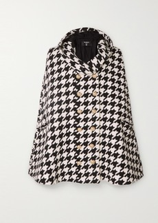 Balmain Hooded Houndstooth Wool-blend Cape