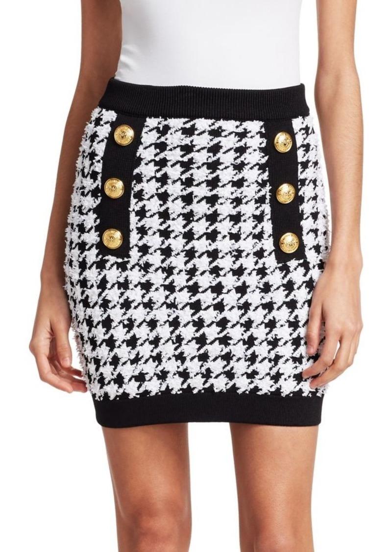 faedb9d477cf68 Balmain Houndstooth Button Pencil Skirt | Skirts
