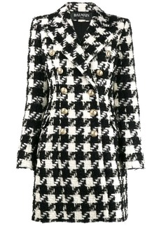 Balmain houndstooth double-breasted coat