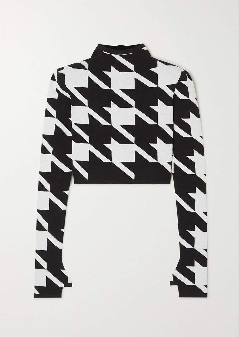 Balmain Houndstooth Jacquard-knit Sweater
