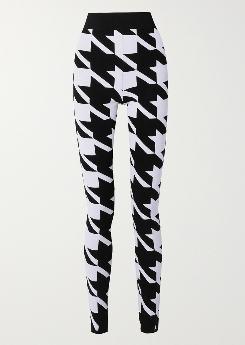 Balmain Houndstooth Stretch-knit Leggings