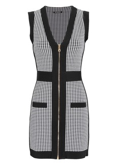 Balmain Houndstooth Zip-Up Mini Dress