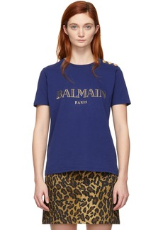 Balmain Indigo Logo T-Shirt