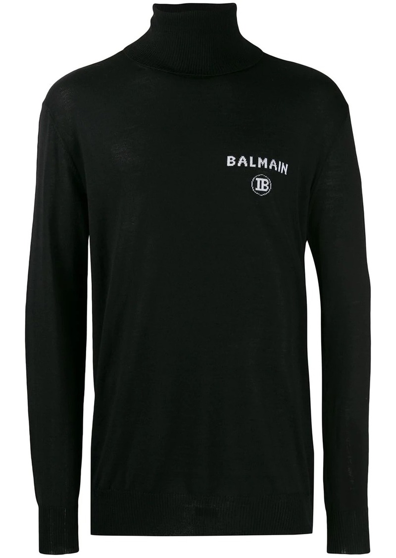 Balmain intarsia logo turtleneck sweater