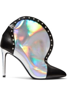 Balmain Iren Studded Smooth And Iridescent Leather Ankle Boots