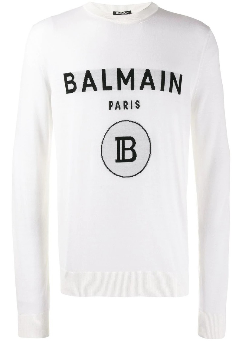 Balmain jacquard logo knitted sweater
