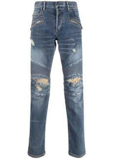 Balmain ripped-detail denim jeans