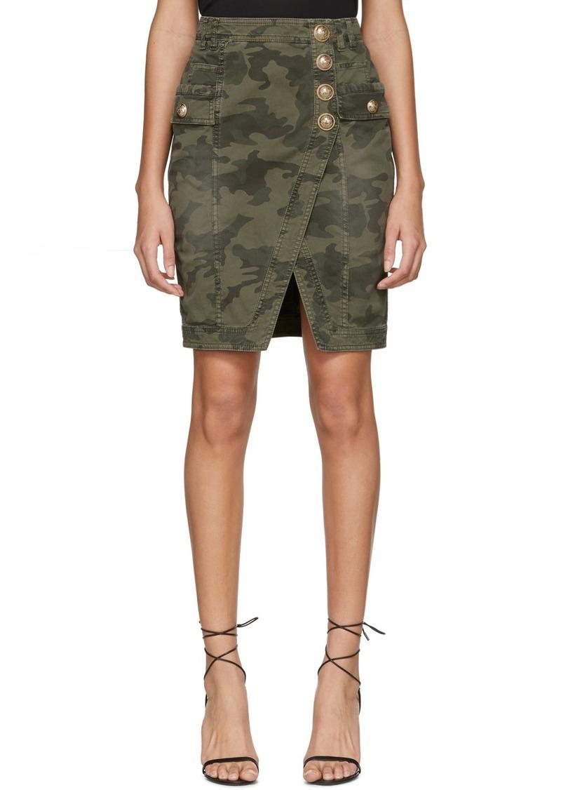 Balmain Khaki Denim Camo Wrap Miniskirt
