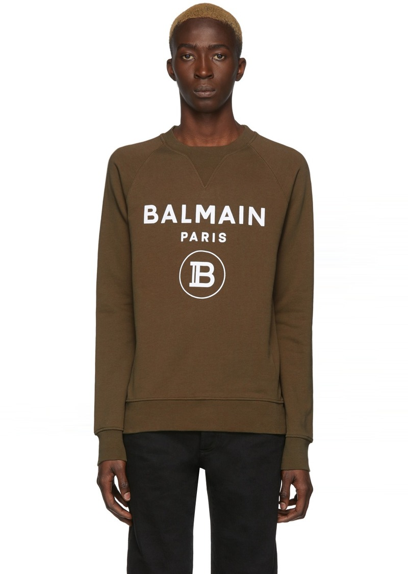 Balmain Khaki Flocked Logo Sweater