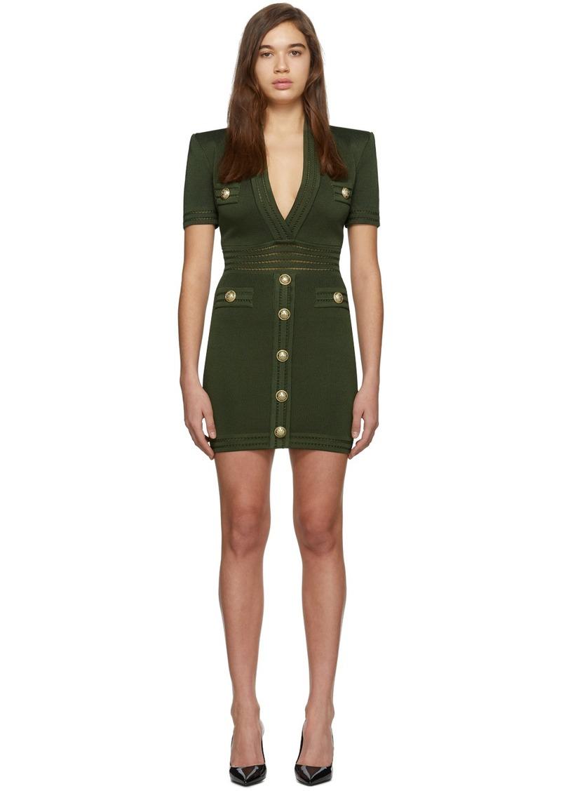 Balmain Khaki Short Sleeve V-Neck Dress
