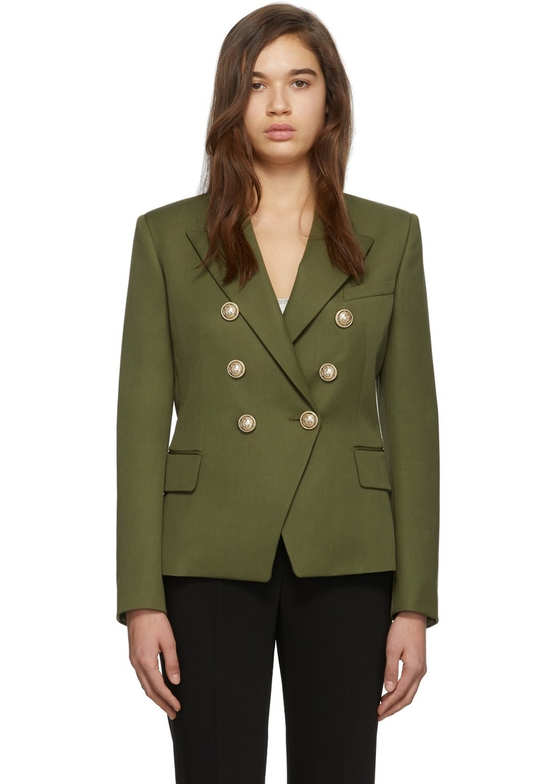 Balmain Khaki Wool Double-Breasted Blazer
