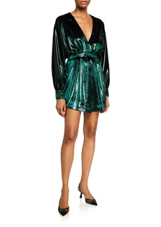 Balmain Kimono-Sleeve Gathered Velvet Mini Dress