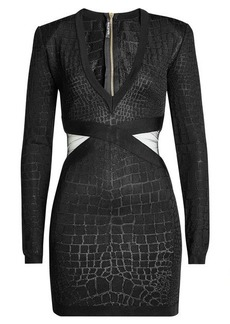Balmain Knit Mini Dress with Bandage Panels