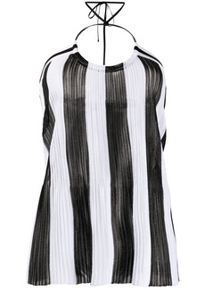 Balmain knitted striped halter neck top