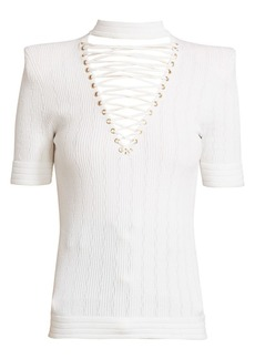 Balmain Lace-Up V-Neck Top