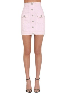 Balmain Laser Dot Cotton Denim Mini Skirt